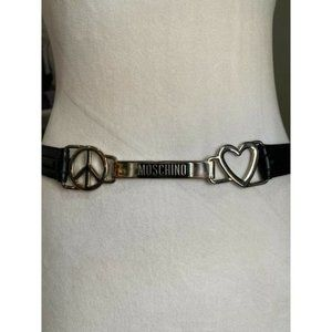 Moschino Black Leather Belt PEACE HEART NWOT 42